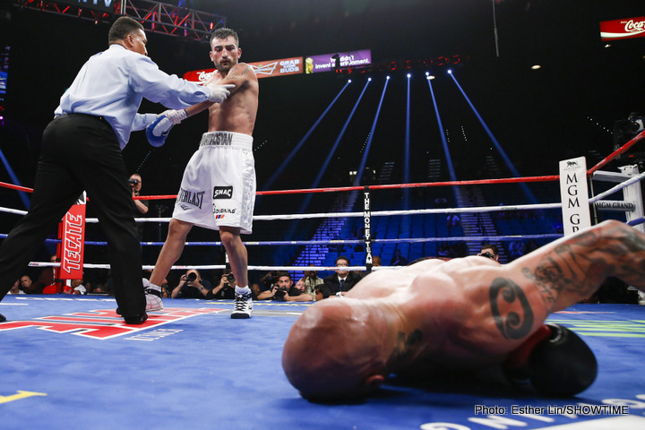 "Jonathan Oquendo, Rocky Martinez, Vanes Martirosyan - Roman ""Rocky"" Martinez (29-2-3, 17 KOs) retained his WBO Junior Lightweight title with a thrilling 12-round majority draw in a rematch against four-time world champion Orlando ""Siri"" Salido (42-13-3, 29 KOs)."