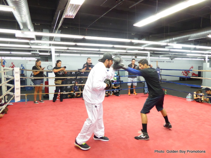 "Lucas Matthysse, Viktor Postol - Just days ahead of his October 3 battle against Viktor ""The Iceman"" Postol (27-0, 11 KOs) for the vacant WBC World Super Lightweight Championship, Lucas ""La Máquina"" Matthysse (37-3, 34 KOs) hosted a Los Angeles media workout at The Rock Gym in Carson, Calif. on Wednesday, Sept. 30. He was joined by his promoter, the Chairman and CEO of Golden Boy Promotions Oscar De La Hoya along with co-main event fighter and former three-division world champion Humberto ""La Zorrita"" Soto (65-8-2, 35 KOs) of Los Mochis, Sinaloa, Mexico; and fighters featured on the non-televised undercard including former Lightweight World Title contender Mercito ""No Mercy"" Gesta (28-1-2, 16 KOs) and Los Angeles fan-favorite Nick Arce (4-0, 4 KOs)."