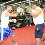 """Lucas Matthysse, Viktor Postol - Just days ahead of his October 3 battle against Viktor """"The Iceman"""" Postol (27-0, 11 KOs) for the vacant WBC World Super Lightweight Championship, Lucas """"La Máquina"""" Matthysse (37-3, 34 KOs) hosted a Los Angeles media workout at The Rock Gym in Carson, Calif. on Wednesday, Sept. 30. He was joined by his promoter, the Chairman and CEO of Golden Boy Promotions Oscar De La Hoya along with co-main event fighter and former three-division world champion Humberto """"La Zorrita"""" Soto (65-8-2, 35 KOs) of Los Mochis, Sinaloa, Mexico; and fighters featured on the non-televised undercard including former Lightweight World Title contender Mercito """"No Mercy"""" Gesta (28-1-2, 16 KOs) and Los Angeles fan-favorite Nick Arce (4-0, 4 KOs)."""