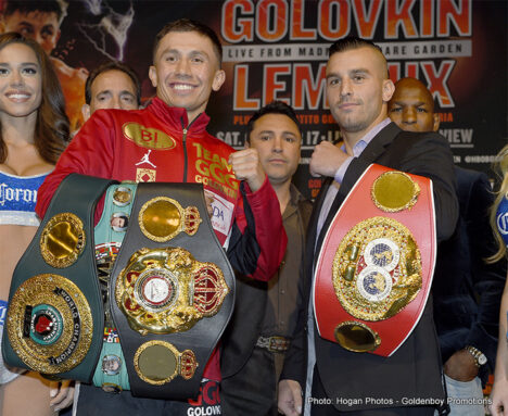"David Lemieux, Gennady Golovkin - (Photo Credit: Hogan Photos - Goldenboy Promotions)  In front of a huge collection of New York sports media, Boxing superstar and WBA/IBO and WBC ""Interim"" World Champion Gennady ""GGG"" Golovkin, (33-0, 30KO's) and IBF Middleweight World Champion David Lemieux, (34-2, 31KO's) held court for the final time just three days prior to their Middleweight World Title Unification battle at the Mecca of Boxing, Madison Square Garden and produced and distributed live on HBO Pay-Per-View set for this Saturday, Oct. 17."