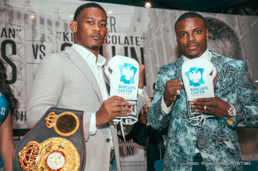 """Daniel Jacobs, Peter Quillin - (Photo credit: Ed Diller/DiBella Entertainment) NEW YORK, N.Y. (Oct. 7, 2015) -WBA Middleweight World Champion Daniel """"The Miracle Man"""" Jacobs (30-1, 27 KOs)and former world champion Peter """"Kid Chocolate"""" Quillin (32-0-1, 23 KOs)participated in a kickoff press conference on Wednesday at Planet Hollywood Times Square in New York City to formally announce their highly anticipated Dec. 5 showdown in the main event of SHOWTIME CHAMPIONSHIP BOXING live on SHOWTIMEfrom Barclays Center in Brooklyn."""