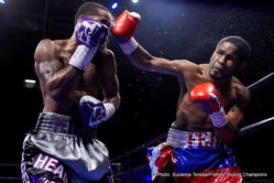 Felix Diaz Jr, Lamont Peterson - In an entertaining 12-round scrap, hometown favorite Lamont Peterson (now 34-3-1, 17 KOs) edged out a majority decision over previously undefeated Olympic gold medalist Felix Diaz (now 17-1, 8 KOs) from EagleBank Arena at George Mason University. Peterson and Diaz stood and exchanged shots toe-to-toe for long periods, bringing the crowd into a frenzy time-after-time.  Peterson pressed the action for the majority of the fight, stalking the smaller Diaz to the ropes. Diaz was the busier of the two, countering and flurrying effectively. Sensing he needed a knockout to win, Diaz came out in the 12th and final round with a sense of urgency, taking the fight right to Peterson. In the end it was too little too late though, as Peterson was awarded the majority decision by scores of 114-114, 117-111, 116-112.