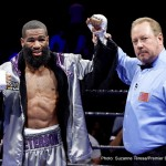 Felix Diaz Jr - In an entertaining 12-round scrap, hometown favorite Lamont Peterson (now 34-3-1, 17 KOs) edged out a majority decision over previously undefeated Olympic gold medalist Felix Diaz (now 17-1, 8 KOs) from EagleBank Arena at George Mason University. Peterson and Diaz stood and exchanged shots toe-to-toe for long periods, bringing the crowd into a frenzy time-after-time.  Peterson pressed the action for the majority of the fight, stalking the smaller Diaz to the ropes. Diaz was the busier of the two, countering and flurrying effectively. Sensing he needed a knockout to win, Diaz came out in the 12th and final round with a sense of urgency, taking the fight right to Peterson. In the end it was too little too late though, as Peterson was awarded the majority decision by scores of 114-114, 117-111, 116-112.
