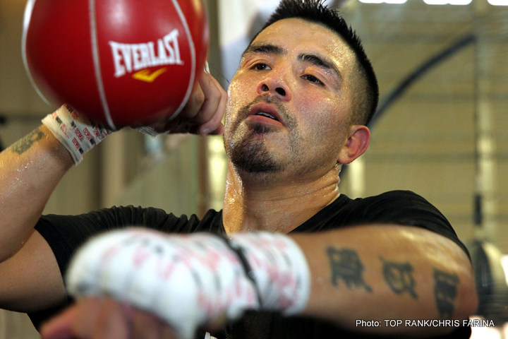 "Brandon Rios - RIVERSIDE, CALIF. (October 27, 2015) -- Former world champion BRANDON ""Bam Bam"" RIOS (33-2-1, 23 KOs), of Oxnard, Calif., his trainer ROBERT GARCIA and manager CAMERON DUNKIN hosted a Media Workout at Robert Garcia Boxing Academy in Riverside, Calif. today."