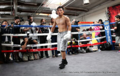 "Brian Viloria, David Lemieux, Gennady Golovkin, Roman Gonzalez -  Boxing Superstar and WBA, IBO and WBC ""Interim"" Middleweight Champion Gennady ""GGG"" Golovkin, (33-0, 30KOs), Four-Time World Champion in two weight divisions, Brian ""The Hawaiian Punch"" Viloria, (36-4 (22KOs) and top junior welterweight prospect Ruslan Madiyev, 5-1-0 (3KOs) held media workouts for a huge gathering of local press on Tuesday afternoon at the Wild Card West Boxing Gym in Santa Monica, California."