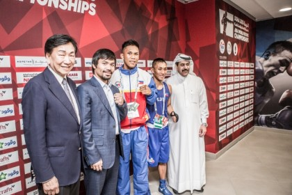 Manny Pacquiao lands in Doha and inspires Filipino light flyweight Rogen Ladon
