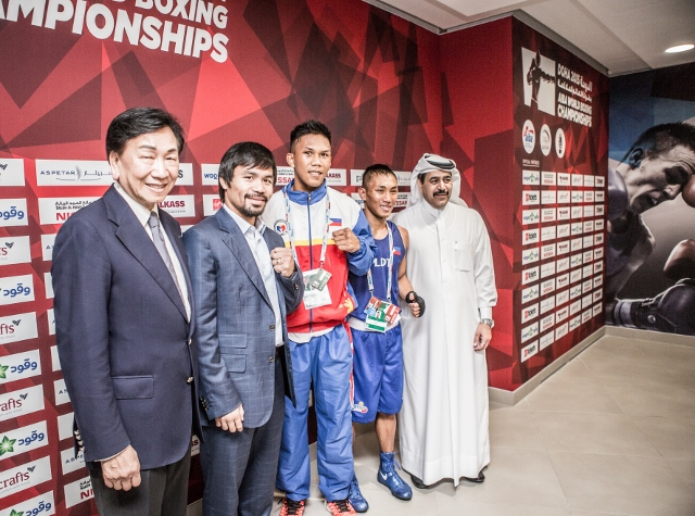 Manny Pacquiao - The President of the Qatar Boxing Federation Yousuf Ali Al Kazim and AIBA President Dr Ching-Kuo Wu welcomed a true legend of modern boxing, Manny Pacquiao, to Doha for the AIBA World Championships on Thursday morning.