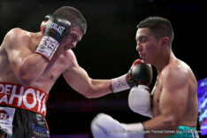 "Diego De La Hoya - LAS VEGAS (Nov. 20, 2015) An action-packed card kicked off a weekend of back-to-back fight nights in Las Vegas, preceding the highly-anticipated Miguel Cotto vs. Canelo Alvarez card at the Mandalay Bay Resort and Casino on Saturday, November 21 on HBO PPV. Attracting a crowd of 1,339, the night featured undefeated boxing legacy and fan-favorite Diego De La Hoya (13-0, 7 KOs) of Mexicali, Mexico facing fellow countryman Giovanni ""Lloviznas"" Delgado (15-4, 9 KOs) of Mexico City, Mexico in what was an explosive eight-round super bantamweight main event, live on Boxeo Estelar on Estrella TV."