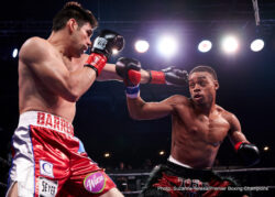 """Erickson Lubin, Errol Spence Jr., Jermell Charlo -  Super welterweight world champion Jermall """"Hitman"""" Charlo (23-0, 18 KOs) stopped """"Silky"""" Wilky Campfort (21-2, 12 KOs) in the fourth-round to retain his title Saturday afternoon on Premier Boxing Champions (PBC) on NBC from The Bomb Factory in Dallas."""