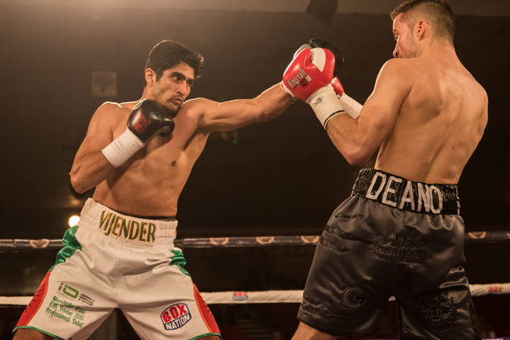 Jamie Conlan - India's boxing sensation Vijender destroyed Dean Gillen inside one round with a phenomenal power-packed performance at the National Stadium in Dublin in his first ever professional fight in Ireland. Singh followed up his pro debut last month, when he smashed Sonny Whiting at the Manchester Arena, with another destructive display, but in less than half the time, as he pummelled Nottingham's Gillen with big right hands.  Gillian went down in the middle of the round, which was ruled a slip by the referee, but Singh went straight on the attack.  He didn't let Gillen rest as he landed punch after punch with Gillen in the corner until Singh detonated a devastating right that dropped him and left him unable to beat the referee's ten-count at the end of the round.