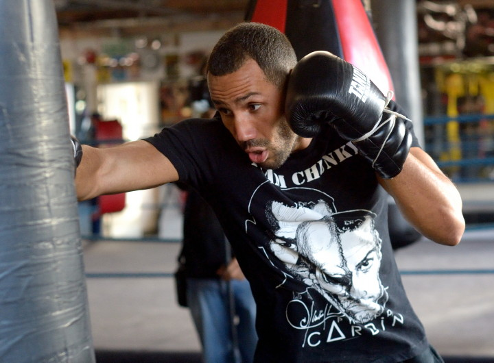 "James DeGale, Lucian Bute - (Photo Credit: Frank Coppi/Matchroom Boxing) LONDON (Nov. 16, 2015) – Two days before he departs for Canada, IBF Super Middleweight World Champion James ""Chunky"" DeGale (21-1, 14 KOs) held an open media workout at the Stonebridge Boxing Club in London as he nears completion of a 10-plus week training camp for his title defense against former world champion and Canadian fan favorite, Lucian Bute (32-2, 25 KOs), of Montreal, on Saturday, Nov. 28, live on SHOWTIME (11 p.m. ET/PT) from the Vidéotron Centre of Quebec City."