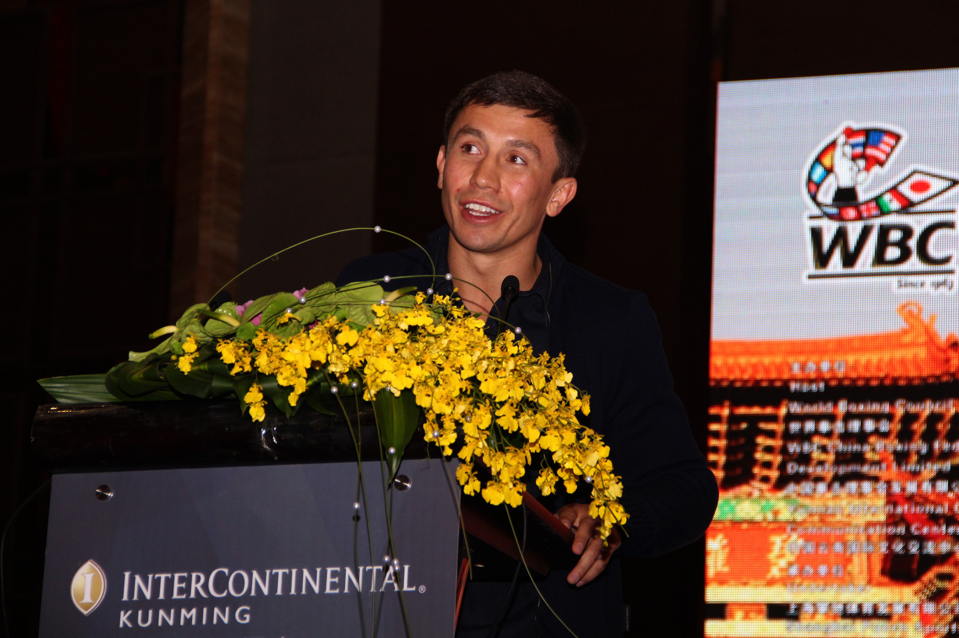 """Gennady Golovkin - (Photo Credits/Sumio Yamada, Supreme Boxing) Kunming, China (November 3, 2015) On Monday at the World Boxing Council's 53rd Annual Convention in Kunming, China, boxing superstar, WBA/IBF/IBO and WBC """"Interim"""" Middleweight World Champion Gennady """"GGG"""" Golovkin, was honored by the sanctioning body in addressing the attendees on behalf of all current and former champions in attendance."""