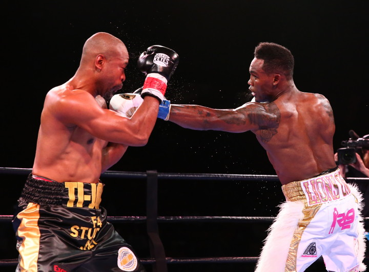 """Joachim Alcine - (Credit: Josh Jordan/Premier Boxing Champions) HOUSTON (November 1, 2015) - The Halloween night broadcast of Premier Boxing Champions on NBCSN took Houston's NRG Arena by storm as undefeated rising star Jermell """"Iron Man"""" Charlo (27-0, 12 KOs) dominated former world champion Joachim Alcine (35-8-2, 21 KOs) in the main event by sixth round knockout."""