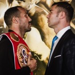 James DeGale, Lucian Bute - (Photo credit: Amanda Westcott/SHOWTIME) QUEBEC CITY, Canada (Nov. 25, 2015) – Boldly predicting at least a sixth-round finish against hometown favorite Lucian Bute, a confident James DeGale held his IBF Super Middleweight World Championship belt high over his head during the main event press conference in advance of Saturday's SHOWTIME CHAMPIONSHIP BOXING event.