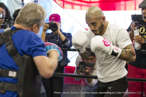 "Miguel Cotto, Saul ""Canelo"" Alvarez - (Photo Credit: Hector Santos Guia/Roc Nation Sports/Miguel Cotto Promotions, LLC)  LOS ANGELES (November 6, 2015) – WBC, Ring Magazine and Lineal Middleweight World Champion Miguel Cotto (40-4, 33 KOs) hosted a media workout on Nov. 5 with his renowned trainer Freddie Roach at Wild Card Boxing Club in Los Angeles ahead of his Nov. 21 mega-fight against former WBC and WBA Super Welterweight World Champion Canelo Alvarez (45-1-1, 32 KOs) at the Mandalay Bay Events Center which will produced and distributed live by HBO Pay-Per-View."