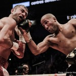 "Gennady Golovkin, James DeGale - By Abdi Haid: IBF super middleweight champion James ""Chunky"" DeGale (22-1, 14 KOs) says he's interested in facing IBF/IBO/WBA middleweight champion Gennady ""Triple G"" Golovkin (34-0, 31 KOs), but for that fight to happen, Golovkin will need to move up in weight. DeGale believes that it'll be an even fight when Golovkin does move up in weight because his punching power won't be as pronounced in the 168lb division as it is at 160 right now against the opposition he's been facing. DeGale says Golovkin is short and only 5'9"", and he believes he's going to have some serious tests when he goes up a weight division."