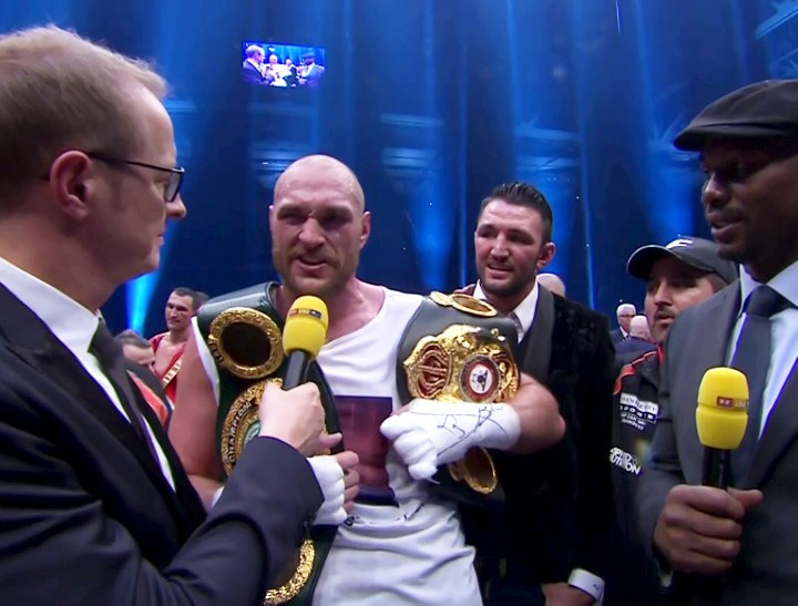 Klitschko vs. Fury, Tyson Fury, Wladimir Klitschko - New WBO/WBA/IBF heavyweight champion Tyson Fury, has revealed his fears that the Klitschko team may have resorted to drugging him before or immediately after Saturday night's title fight, openly calling the brother's 'cheats' and revealing he flew home dehydrated for fear of drinking any contaminated fluid.
