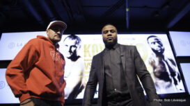 Jean Pascal, Sergey Kovalev - Although the fight is still two months away, there was already tension between unified light heavyweight title holder Sergey Kovalev and former world champion Jean Pascal at Monday's press conference held at Bell Centre's La Cage - Brasserie Sportive. Main Events and InterBox formally announce the rematch for the Unified WBO, WBA and IBF Light Heavyweight World Championship set to take place on Saturday, January 30 at Bell Centre. The event will be televised live on HBO World Championship Boxing beginning at 9:45 p.m. ET/PT.