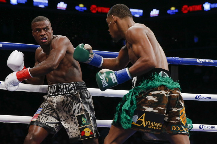 """Daniel Jacobs, Peter Quillin - (Photo credit: Esther Lin/SHOWTIME) Former WBO 160lb champion Peter """"Kid Chocolate"""" Quillin (32-1-1, 23 KOs) tasted defeat for the first time in his career on Saturday night in getting blasted out by the hard hitting WBA """"regular"""" middleweight champion Daniel Jacobs (31-1, 28 KOs) in a 1st round TKO defeat in a fight between two Brooklyn natives at the Barclays Center in Brooklyn, New York."""