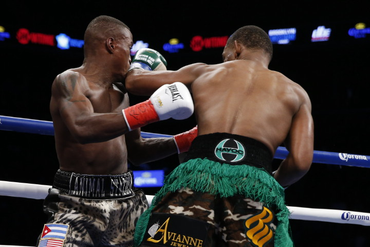 Daniel Jacobs, Peter Quillin - (Photo credit: Esther Lin/SHOWTIME) BROOKLYN (Dec. 6, 2015) – WBA Middleweight World Champion Daniel Jacobs shocked undefeated challenger Peter Quillin with a first round TKO in the all-Brooklyn main event of SHOWTIME CHAMPIONSHIP BOXING on Saturday in front of 8,443 fans at Barclays Center.