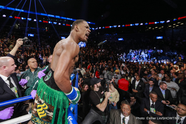 "Daniel Jacobs, Peter Quillin - Saturday night at the Barclays Center in Brooklyn, New York, Daniel ""Miracle Man"" Jacobs (31-1-0, 28 KOs) steamrolled former undefeated WBO 160lb champion Peter ""Kid Chocolate"" Quillin (32-1-1, 23 KOs) with a thrilling first round knockout. The bout between the two Brooklyn natives was a major win for Jacobs, giving him significant reason to claim ""top dog"" status in the burgeoning discussion on who represents the class of the middleweight division."