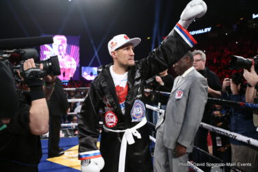 "Jean Pascal, Sergey Kovalev - (Photo Credit: David Spagnolo/Main Events) Montreal, Quebec, Canada:  Undefeated Unified WBO, WBA and IBF Light Heavyweight World Champion Sergey ""Krusher"" Kovalev (29-0-1, 26 KOs) retains all three of his titles as he makes short work of former light heavyweight world champion, Jean Pascal (30-4-1, 17 KOs), again."