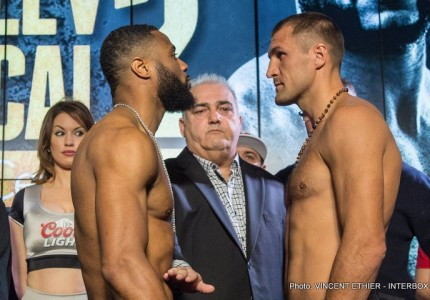 Weights: Sergey Kovalev: 174.6 lbs.  Jean Pascal: 174.3 lbs.