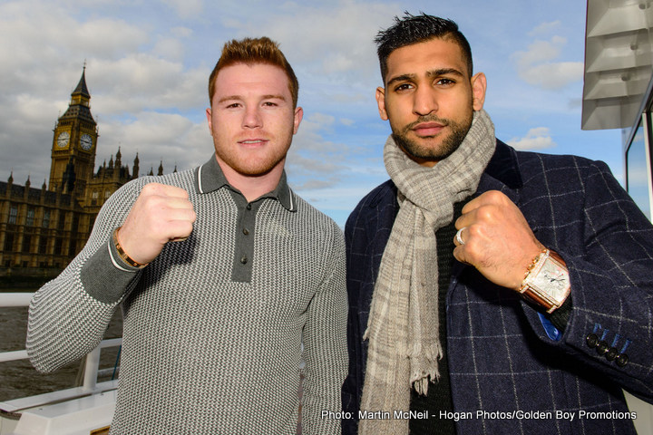 """Amir Khan, Saul """"Canelo"""" Alvarez - (March 1, 2016) – WBC, Ring Magazine and Lineal Middleweight World Champion Canelo Alvarez (46-1-1, 32 KOs) will make his first title defense of 2016 against former two-time world champion and resurgent contender Amir """"King"""" Khan (31-3, 19 KOs) on Saturday, May 7, Cinco De Mayo weekend, in a match-up of two of the biggest stars in boxing. T-Mobile Arena, the hottest new sports and entertainment venue located just west of the famed Las Vegas Strip, will host this epic showdown, which will also be produced and distributed live by HBO Pay-Per-View® beginning at 9:00 p.m. ET/6:00 p.m. PT."""