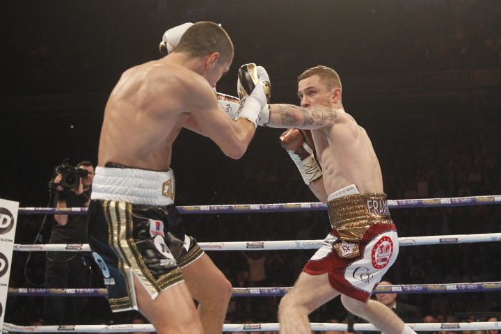Carl Frampton, Scott Quigg - (Photo credit Matchroom Boxing) NEW YORK (Feb. 27, 2016) – IBF 122-pound world champion Carl Frampton unified the super bantamweight division with a split decision victory over WBA titlist Scott Quigg Saturday on SHOWTIME BOXING INTERNATIONAL from Manchester, England.
