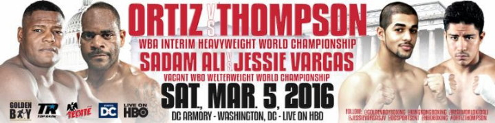 Tony Thompson - OSCAR DE LA HOYA, Chairman and CEO of Golden Boy Promotions:  Welcome, everyone, to the Luis Ortiz, Tony Thompson and Sadam Ali and Jessie Vargas media conference call.  These will be two exciting matchups taking place on March 5th at the DC Armory in Washington D.C.