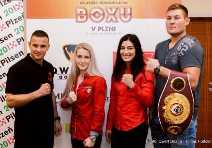 Press conference in Pilsen, Czech Republic with Tom Schwarz, Lucie Sedlackova, Fabiana Bytyqi, Ondrej Pala