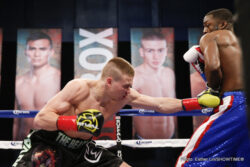 "Aaron Herrera, Regis ""Rougarou"" Prograis -  On a night of knockouts, unbeaten super lightweight Regis ""Rougarou"" Prograis (17-0, 14 KOs), of Houston, scored his third consecutive dominant victory on ShoBox: The New Generation, knocking out Mexico's Aaron Herrera (21-5-1, 12 KOs) at 2:17 of the first round Friday in the main event on SHOWTIME from Buffalo Run Casino in Miami, Okla."
