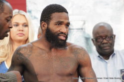 "Adrien Broner, Ashley Theophane -  By Justin Jones and Paul ""Paparazzi"" Jones - Whenever WBA (Super) champion Adrien ""The Problem"" Broner (31-2-0, 1 NC, 23 KOs) is involved with a boxing promotion you can always expect a little more theatre than usual, today's weigh-in was no different."