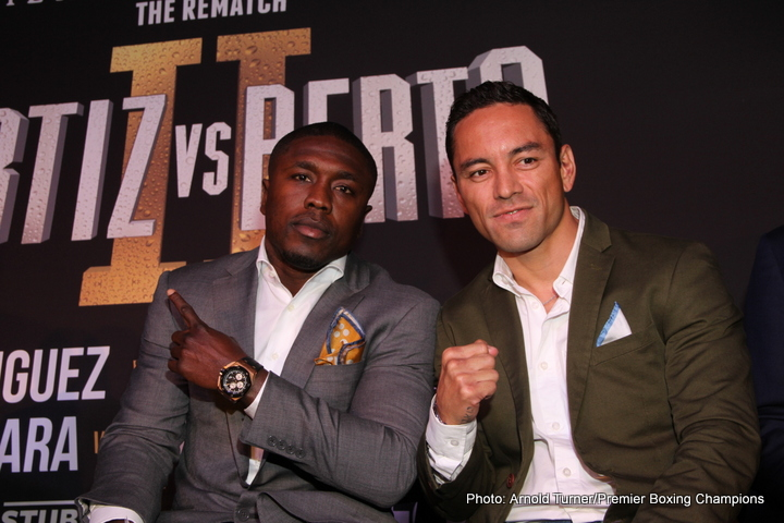 """SANTA MONICA, CALIF. (April 27, 2016) - Fight week kicked-off Wednesday afternoon with media workouts for the long awaited rematch between former world champion """"Vicious"""" Victor Ortiz and Andre """"The Beast"""" Berto that headlines Premier Boxing Champions on FOX and FOX Deportes on Saturday, April 30 from StubHub Center in Carson, Calif."""