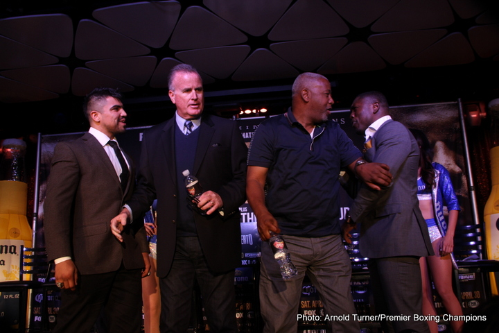 """Jorge Lara - LOS ANGELES (March 23, 2016) - Former welterweight world champions """"Vicious"""" Victor Ortiz and Andre """"The Beast"""" Berto,along with undefeated featherweight contender Jorge Lara and former world champion Fernando """"Cochulito"""" Montiel, held a press conference in Los Angeles Wednesday to discuss their Premier Boxing Champions (PBC) on FOX & FOX Deportes showdowns taking place Saturday, April 30 from StubHub Center in Carson, Calif."""