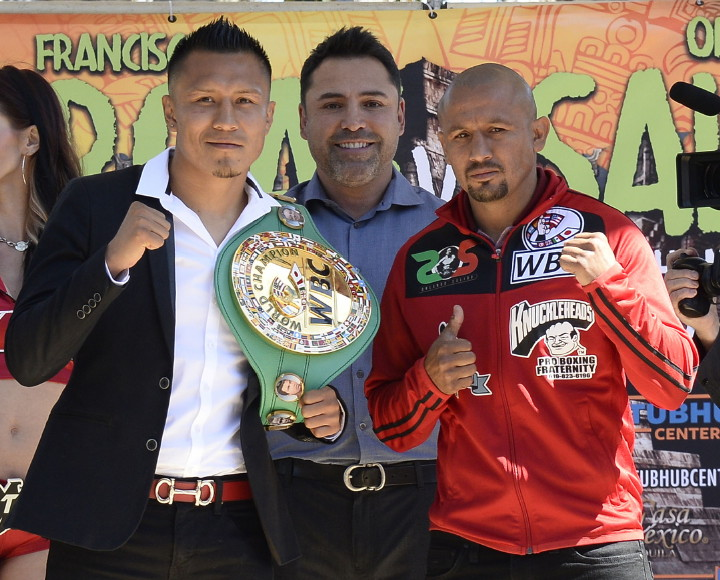 """Francisco Vargas, Orlando Salido - (Photo Credit: Tom Hogan Photos/Golden Boy Promotions) LOS ANGELES (March 31, 2016) - WBC Super Featherweight World Champion Francisco """"El Bandido"""" Vargas (23-0-1, 17 KOs) and fellow Mexican warrior and former three-time world champion Orlando """"Siri"""" Salido (43-13-3, 30 KOs, 1 NC) today hosted a Los Angeles press conference to discuss their 12-round battle set for June 4 for Vargas's title at the Stub Hub Center in Carson, Calif. and to be televised live on HBO Boxing After Dark®."""