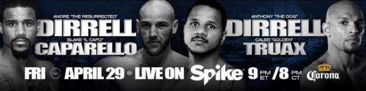"Blake Caparello -  Olympic Bronze Medalist Andre Dirrell (24-2, 16 KOs) takes on Australia's Blake Caparello (22-1-1, 6 KOs) in a 10-round super middleweight attraction as Premier Boxing Champions (PBC) returns to Spike on Friday, April 29 from Taj Mahal Casino and Hotel in Atlantic City, New Jersey. Also on the same card, Dirrell's brother, former world champion Anthony ""The Dog"" Dirrell (28-1-1, 22 KOs) will meet former world title challenger Caleb ""Golden"" Truax (26-2-2, 16 KOs) in a 10-round super middleweight affair as part of an exciting night of PBC on Spike action beginning at 9 p.m. ET/8 p.m. CT."