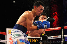 """Manuel Avila, Rene Alvarado -  LA FIGHT CLUB on April 1 continues to bring the best boxing to Los Angeles as Fairfield, Calif.'s Manuel """"Tino"""" Avila (20-0, 8 KOs)took on Nicaraguan warrior Rene """"Gemelo"""" Alvarado (23-7, 16 KOs) in an exciting 10-round featherweight bout from the Downtown  Belasco  Theater broadcast live on Boxeo Estellar on Estrella TV. The nearly sold out event saw the likes of an exciting group of special guests including NBA superstar and Los Angeles Laker's player Metta World Peace and Golden Boy stable mates Hector """"El Finito"""" Tanajara, Chirstian """"Chimpa"""" Gonzalez, Jesus """"Renuente"""" Soto Karass, Carlos """"The Solution"""" Morales, Francisco """"El Bandido"""" Vargas, Nick Arce, Rafael Gramajo, Oscar """"El Jaguar"""" Negrete and Jonathan """"Thunder"""" Navarro."""