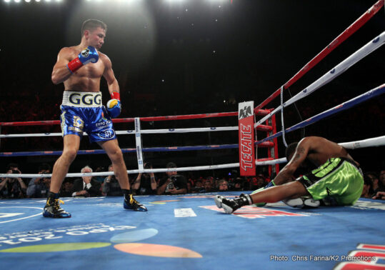 "Dominic Wade, Gennady Golovkin, McWilliams Arroyo, Roman Gonzalez - (Photo credit Chris Farina/K2 Promotions) Los Angeles, CA (April 24, 2016) In front of a sold-out crowd of 16,353 at the Fabulous Forum, on Saturday night, Boxing Superstar and Unified Middleweight World Champion Gennady ""GGG"" Golovkin, 35-0, (32KO's) defended his titles (WBA, IBF, IBO and WBC ""Interim"") with a devastating second round knockout of Mandatory Challenger Dominic Wade, 18-1-0 (12KO's)."