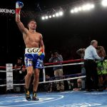 """McWilliams Arroyo - (Photo credit Chris Farina/K2 Promotions) Los Angeles, CA (April 24, 2016) In front of a sold-out crowd of 16,353 at the Fabulous Forum, on Saturday night, Boxing Superstar and Unified Middleweight World Champion Gennady """"GGG"""" Golovkin, 35-0, (32KO's) defended his titles (WBA, IBF, IBO and WBC """"Interim"""") with a devastating second round knockout of Mandatory Challenger Dominic Wade, 18-1-0 (12KO's)."""