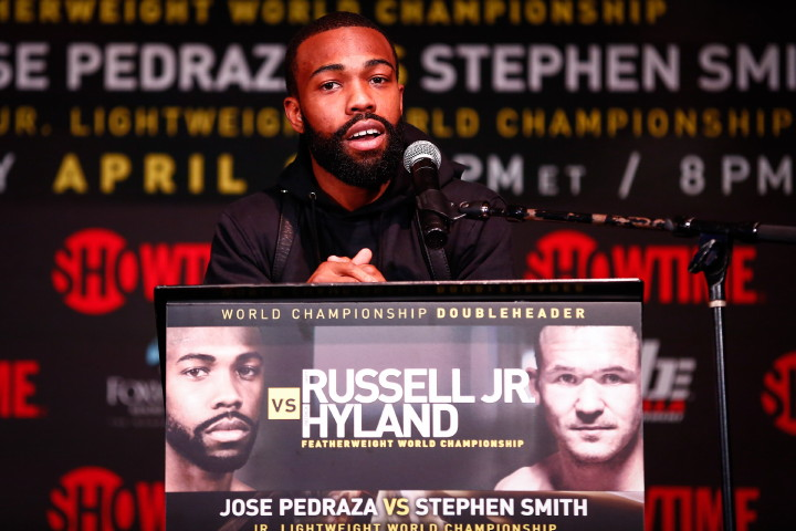 Patrick Hyland - (Credit: Stephanie Trapp/SHOWTIME) NEW YORK (April 13, 2016) - WBC Featherweight Champion Gary Russell Jr. (26-1, 15 KOs), of Capitol Heights, Md., and Irish contender Patrick Hyland (31-1, 15 KOs), of Dublin, faced off at the final press conference Wednesday at Highline Ballroom in New York, as they approach this Saturday's Featherweight World Title fight live on SHOWTIME® from the Fox Theater in Foxwoods Resort Casino in Mashantucket, CT.