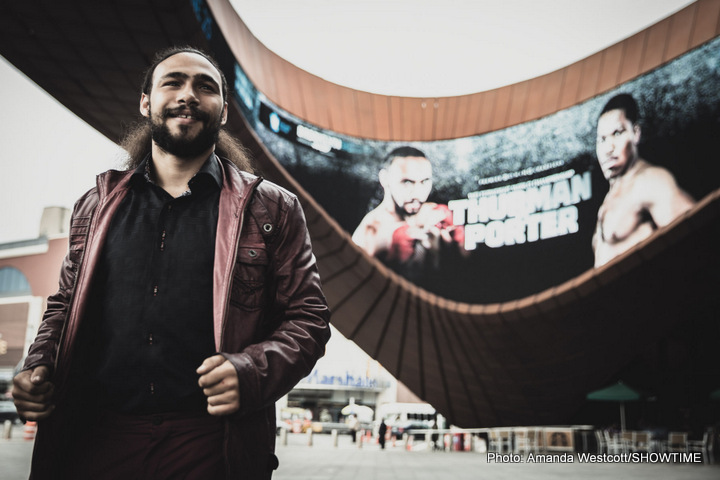 """Keith Thurman, Shawn Porter - BROOKLYN (June 21, 2016) - The stacked undercard for the highly anticipated Keith Thurman vs. Shawn Porter welterweight showdown is complete and will feature a pair of popular Brooklyn fighters as heavyweight Adam Kownacki (13-0, 10 KOs) battles hard-hitting Jesse Barboza (11-1-1, 7 KOs) in an eight-round bout while crowd-pleasing featherweight   Heather """"The Heat"""" Hardy (16-0, 4 KOs) takes on Colorado's Kirstie Simmons (8-1, 2 KOs) in an eight-round contest on Saturday, June 25 from Barclays Center."""