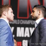 """Amir Khan, Saul """"Canelo"""" Alvarez - In a recent interview, British star, Amir Khan stated that should he defeat Saul """"Canelo"""" Alvarez this Saturday night for the WBC Middleweight title that he would not rule out the possibility of facing Gennady """"Triple G"""" Golovkin."""