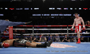 """Amir Khan, Curtis Stevens, David Lemieux, Glen Tapia, Saul """"Canelo"""" Alvarez - Saul """"Canelo"""" Alvarez KO 6 Amir Khan - Canelo Alvarez: """"He is a fast fighter, and I knew things would be complicated in beginning, but I knew they would come to my favor as the fight went on. People have known me only for my power. I have many more qualities in the ring and I showed that. I think people saw more of me tonight. Someone that comes in to box gives you more trouble and someone that comes right in is a little easier to fight."""""""