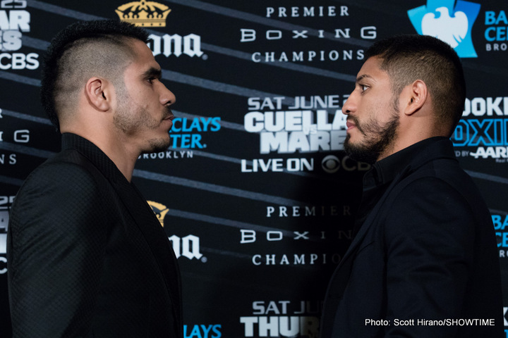 Jesus Cuellar - Featherweight world champion Jesus Cuellar and former three-division world champion Abner Mares went face-to-face for the first time Thursday as they hosted media roundtables in Los Angeles ahead of their showdown on Saturday, June 25 showdown live on CBS from Barclays Center in Brooklyn.
