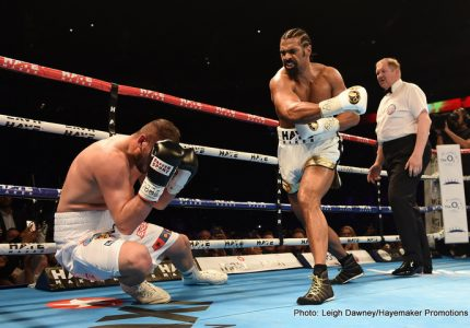 Eddie Hearn says he feels Haye could get down to 210, fight with Bellew targeted for February or March 2017