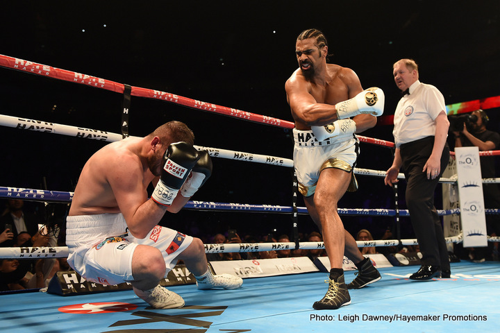 """David Haye - Former cruiserweight champ and former WBA heavyweight champion David Haye today celebrates his 40th birthday. Currently working hard with Dereck Chisora ahead of """"War"""" against Oleksandr Usyk, Haye left the rigors of the ring behind him back in May of 2018, after his second loss to Tony Bellew."""