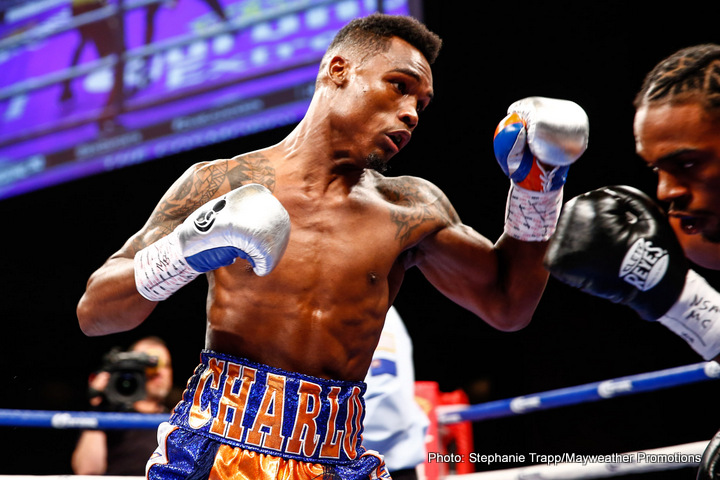"Charles Hatley, Jermell Charlo - The co-feature is a terrific bout for the WBC junior middleweight championship.  Jermell ""Iron Man"" Charlo 28-0, 13 KOs from Houston, Texas against Charles Hatley, 26-1-1, with 18 KOs from Dallas, Texas.  So we got a battle of Texas and Brooklyn on April 22.  As most of you know Jermell's brother is Jermall.  They're one minute apart.  Jermell's one minute younger."