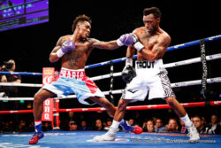 Austin Trout, Jermall Charlo - IBF junior middleweight champion Jermall Charlo (24-0, 18 KOs) was fortunate to hold onto his IBF title tonight in his title defense against challenger Austin Trout (30-3, 17 KOs) at The Cosmopolitan in Las Vegas, Nevada. Charlo, 26, won the fight by a 12 round unanimous decision by the scores of 115-113, 116-112, 116-112.