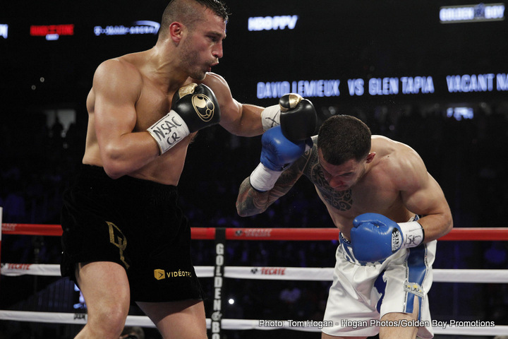 "Curtis Stevens, David Lemieux, Frankie Gomez, Jason Quigley - Former IBF Middleweight World Champion David Lemieux (35-3, 32 KOs) dominated against Glen ""Jersey Boy"" Tapia (23-3, 15 KOs) with a technical knockout in the fourth of 10 scheduled rounds to claim the vacant NABO Middleweight Title. In the fourth round, Lemieux knocked Tapia down hard to the canvas, giving the fighter his first career knockdown. Tapia jumped up quickly, but his corner waved off the fight, leaving him pleading with them not to stop it."